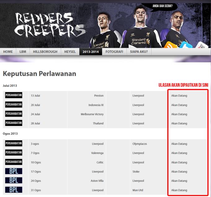 Senarai perlawanan 20132014