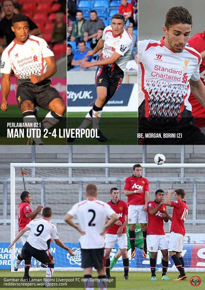Muka Depan Laporan Perlawanan B21 MU 2-4 Liverpool